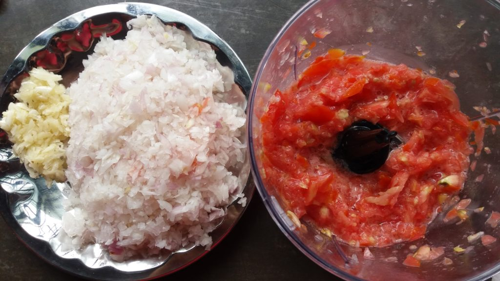 Onions and tomatoes finely chopped